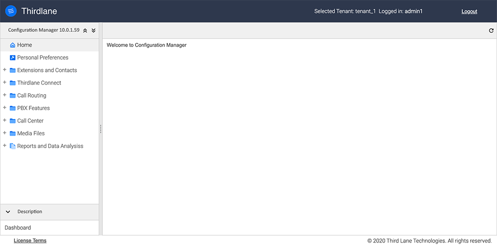 Initial Configuration Manager Screen Tenant