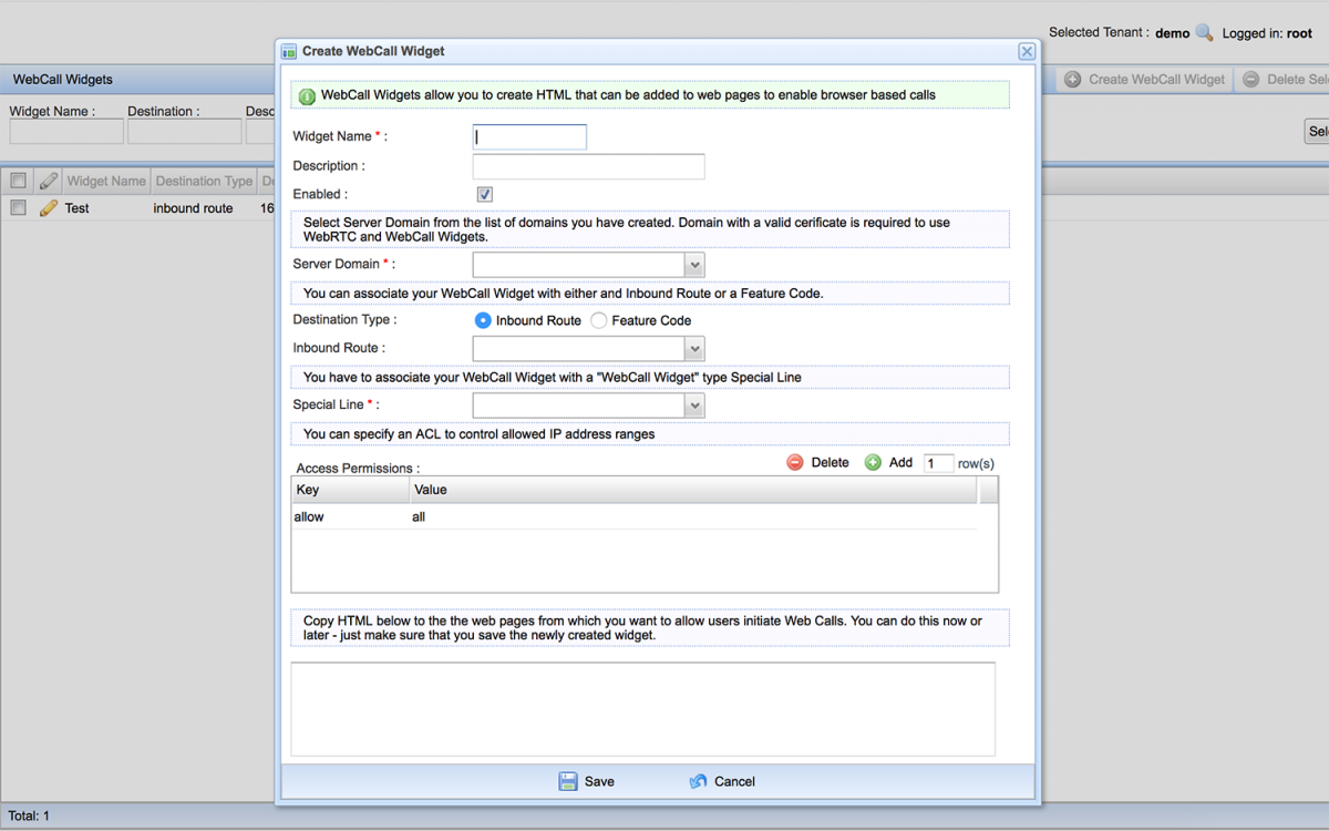 Webcall widget form
